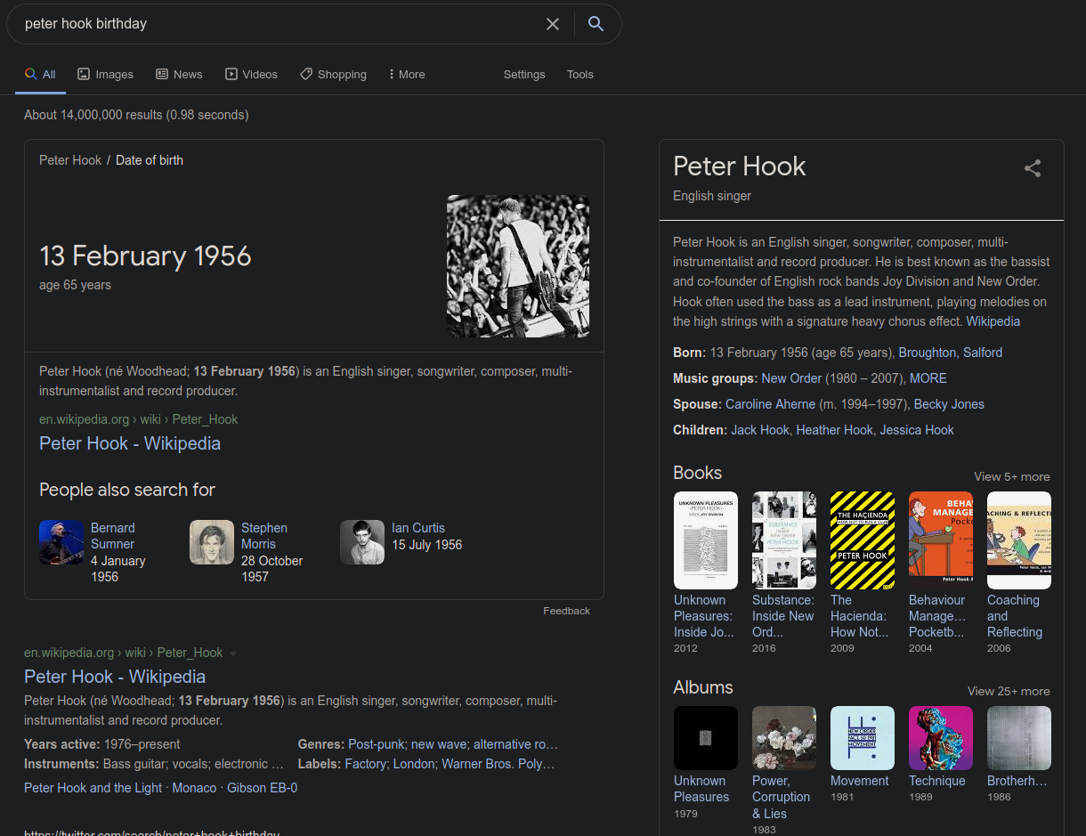 Peter Hook's birthday - Google search results